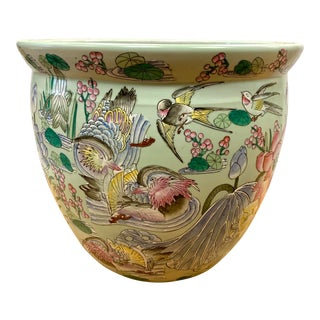Asian Chinese Pastel Porcelain Birds and Lilies Fish Bowl Planter For Sale