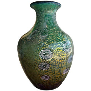 Hand Blown Green, Gold, Silver Foil Murano Vase by Giulio Radi for Avem For Sale