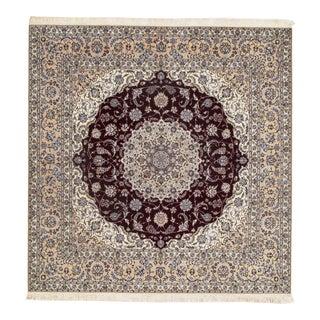 "Pasargad Vintage Persian Nain Silk & Wool Rug - 8'5"" X 8'6"" For Sale"