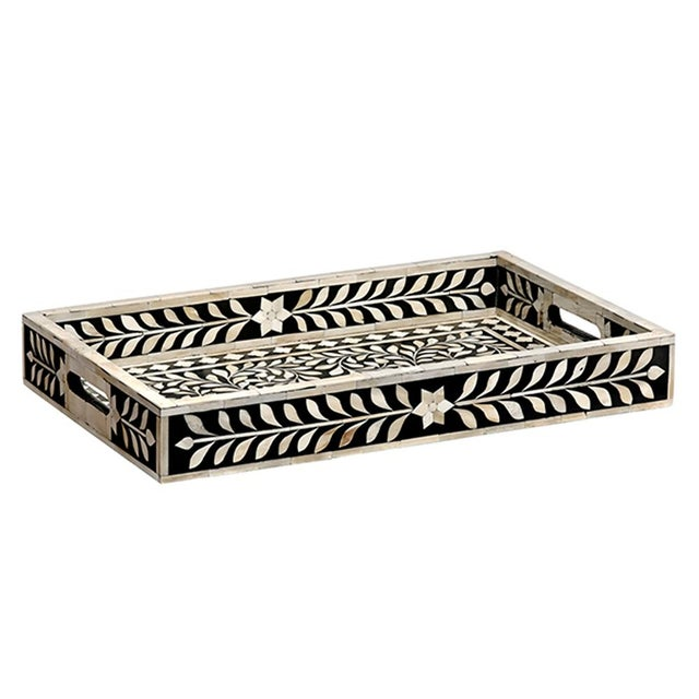 Contemporary Imperial Beauty Decorative Tray in Black & White, Large For Sale - Image 3 of 3