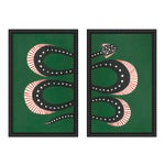 "Medium ""Zucchini the Snake I and Ii"" Set of 2 Prints by Willa Heart, 40"" X 31"""
