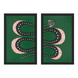 """Medium """"Zucchini the Snake I and Ii"""" Set of 2 Prints by Willa Heart, 40"""" X 31"""" For Sale"""