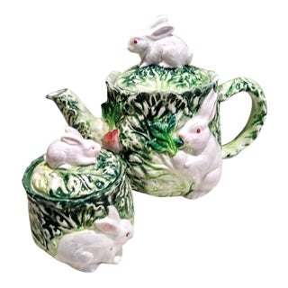 Vintage Shafford 2 Piece Bunny Rabbit Cabbage Tea Pot and Sugar Serving Set For Sale