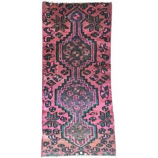 Vintage Pastel Pink Persian Karache Serapi Heriz Geometric Runner Rug For Sale