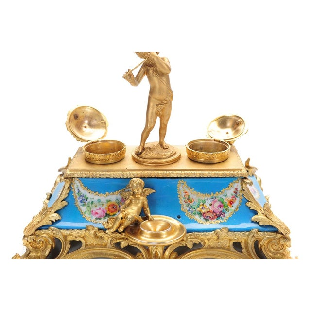 18th C. French Gilt Bronze & Porcelain Inkwell - Image 4 of 9