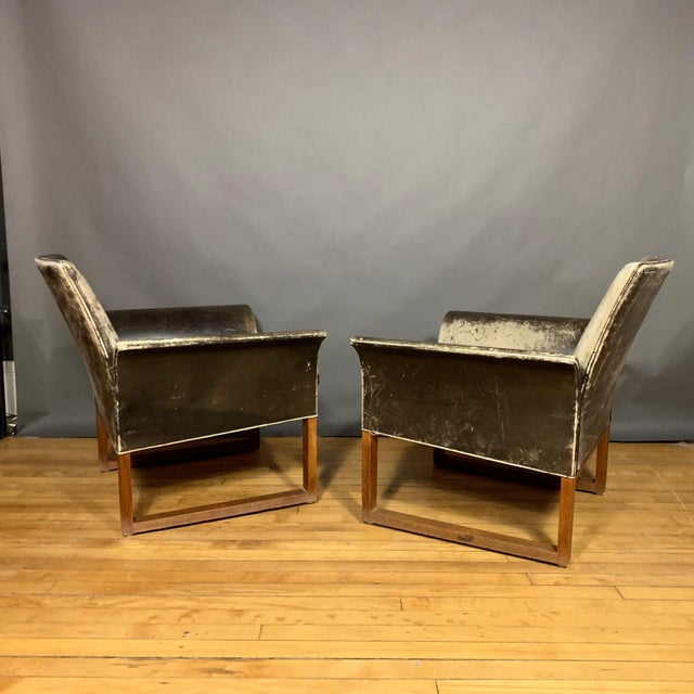 Pair of Danish 1960s Faded Black Leather Lounge Chairs For Sale - Image 9 of 13