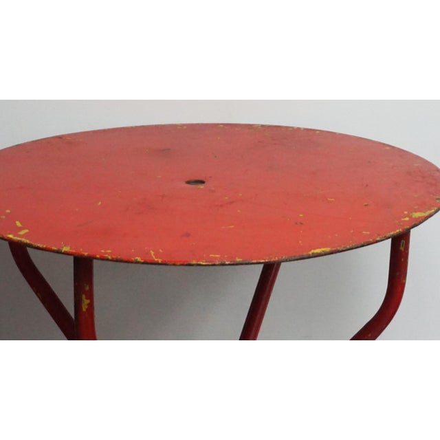 Mid-Century Modern Vintage Red French Bistro Table For Sale - Image 3 of 7