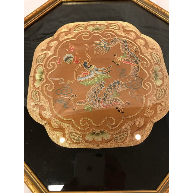 Vintage Octagonal Framed Chinese Embroidered Fabric Panels- A Pair - Image 3 of 5