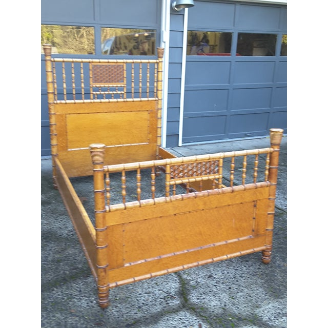 Handcrafted antique faux bamboo and birdseye maple bed, ideal for guest room or child's room or your special retreat A...