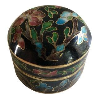 Vintage Floral Cloisonné Pill Box For Sale