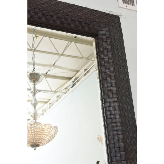 Animal Skin Italian Modern Woven Leather Mirror For Sale - Image 7 of 8