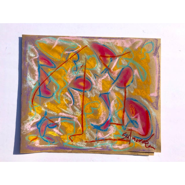 2010s Abstract #93 Original Pastel Drawing by Erik Sulander 14.5 X12 For Sale - Image 5 of 5