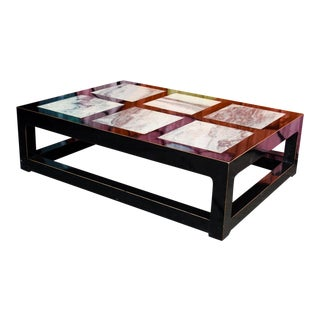 Modern Black Lacquered and Marble Coffee Table