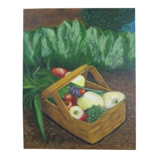 Vintage Vegetables in a Garden Acrylic Painting For Sale