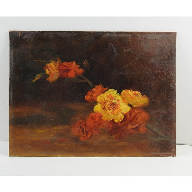 Oil on canvas board of yellow and red roses, circa 1950's. Unsigned. Unframed.