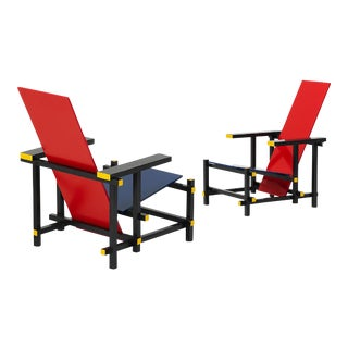One Red & Blue Chair by Gerrit Rietveld by Cassina Italia, 1917