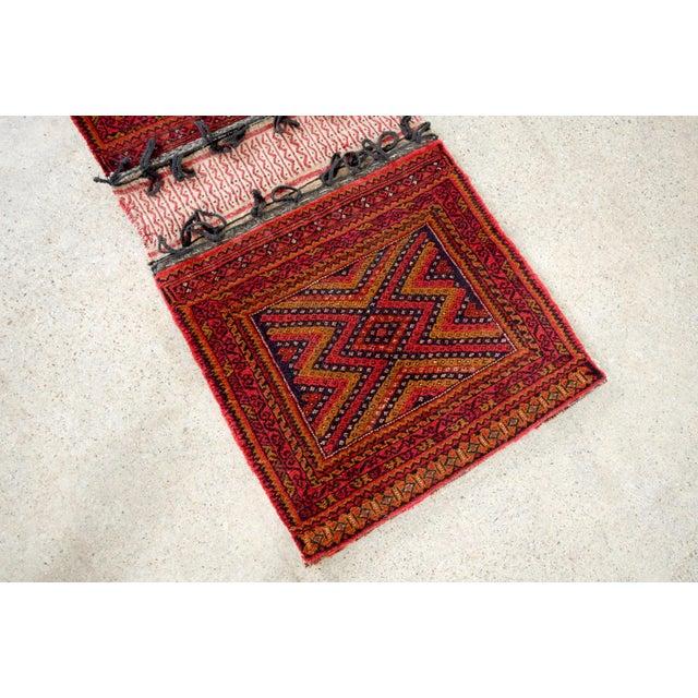 "Textile Antique Balochistan Wool Tribal Saddlebag Rug - 1'8"" x 3'8"" For Sale - Image 7 of 12"