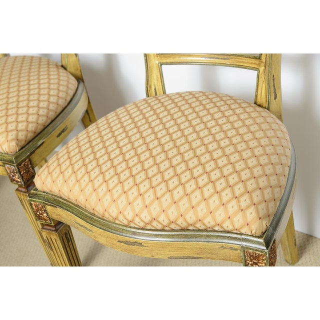 Italian Louis XVI Style Painted & Gilt Chairs - Set of 4 For Sale - Image 11 of 13