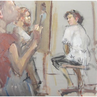 "Fry Oil Painting ""In the Studio"", Contemporary Gray Figurative Scene For Sale"