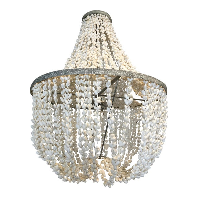 Made Goods Empire White Shell Chandelier For Sale