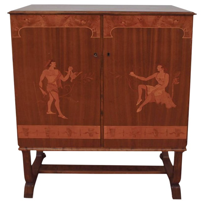 Tempting Mjolby Intarsia Bar Cabinet From Sweden, Circa 1920s For Sale
