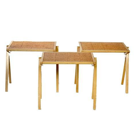 Mid-Century Modern Vintage Jon Jansen Cork Top Stacking Tables - Set of 3 For Sale - Image 3 of 8