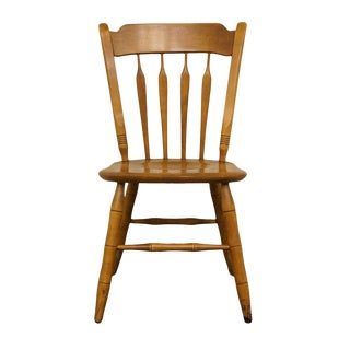 Late 20th Century Ethan Allen Heirloom Nutmeg Maple Colonial Style Arrowback AccentChair For Sale