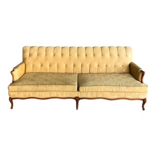 1950s Canterbury Home Inc. Victorian Inspired Yellow Sofa For Sale