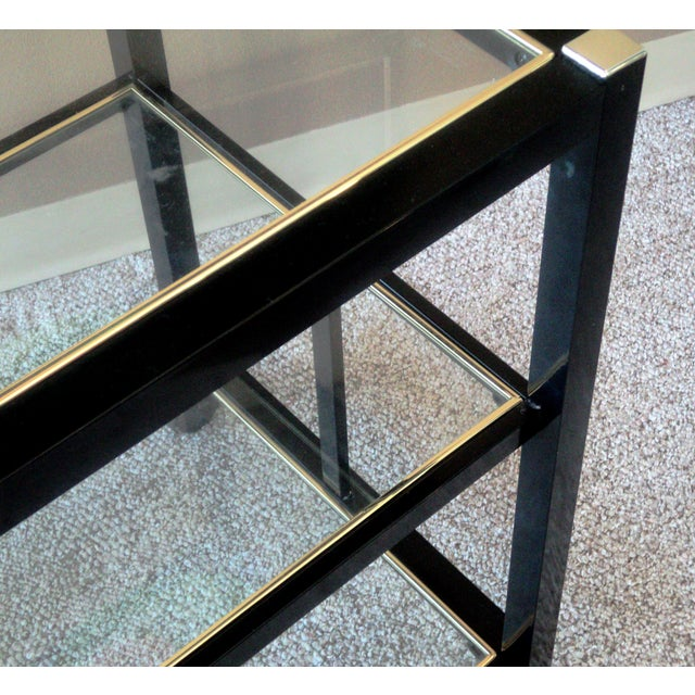 Pierre Vandel Style Black & Gold Trimmed Bar Cart For Sale In Boston - Image 6 of 6