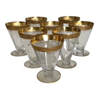 Vintage 1970's Clear Glass Gilt Sherry Glasses - Set of 8