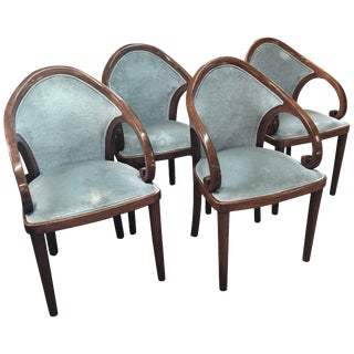 Group of Four Walnut Upholstered Chairs