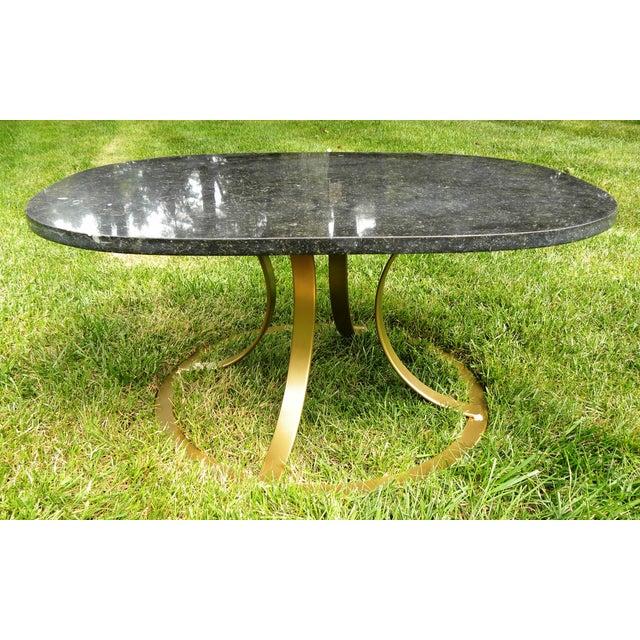 Hollywood Regency Black Marble Coffee Table - Image 6 of 8