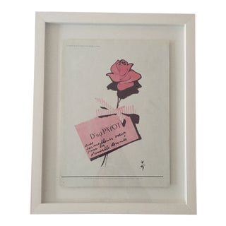 1955 Vintage Payot Rose Perfume, René Gruau Magazine Ad , Framed For Sale