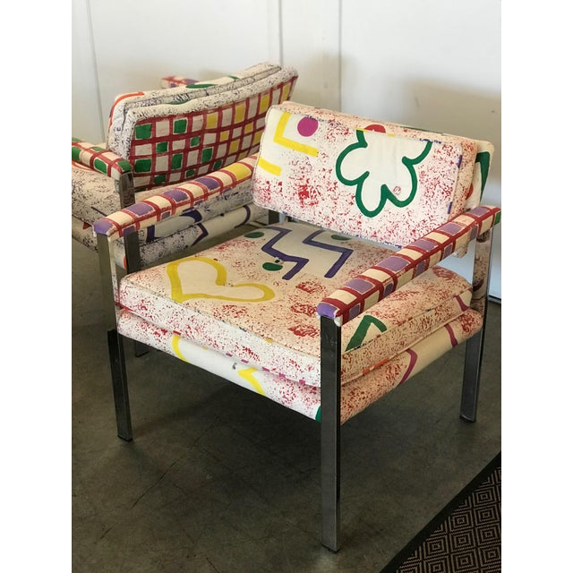 Pink 1960s Mid-Century Modern Milo Baughman for Thayer-Coggin Pink and White Pattern Upholstered Club Chairs - a Pair For Sale - Image 8 of 11