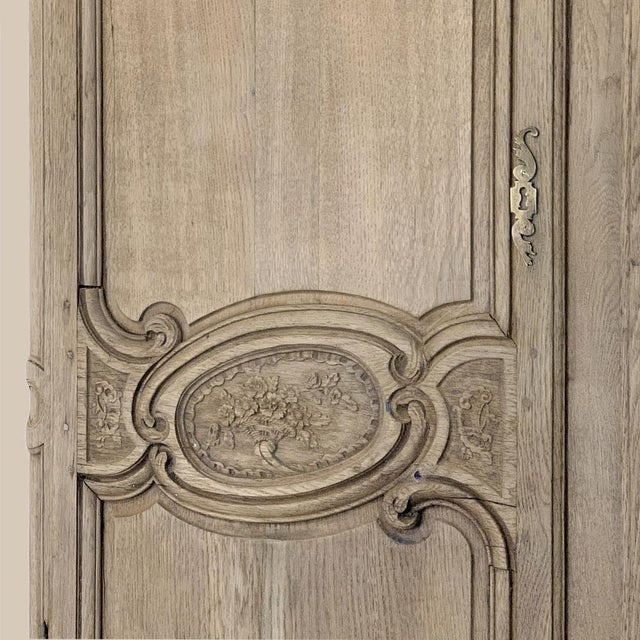 19th Century Country French Normandy Stripped Oak Armoire For Sale - Image 9 of 13