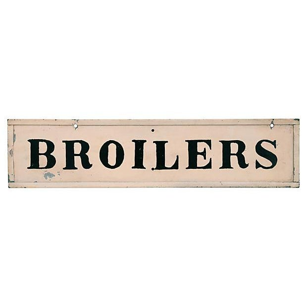 "Circa 1940s two-sided metal hand-lettered ""Broilers"" chicken sign. Wear, scratches, chips, holes where attached."