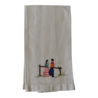 Vintage Pink and Orange Embroidered Bathroom Guest Towel For Sale