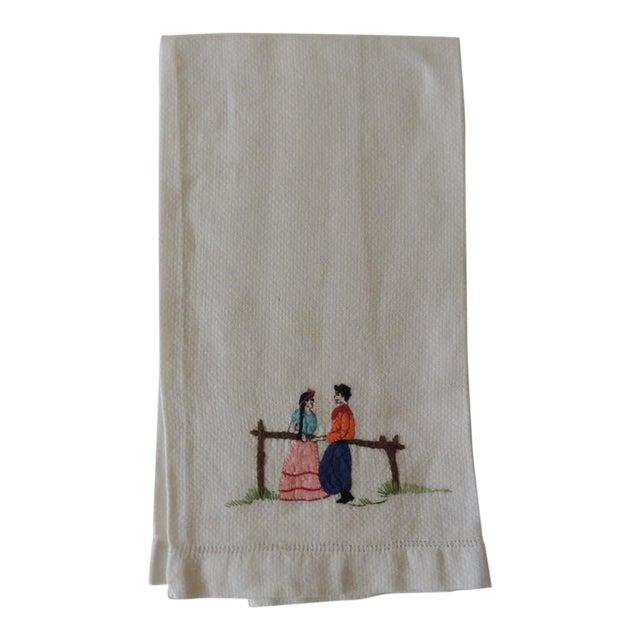Vintage Pink and Orange Embroidered Bathroom Guest Towel For Sale