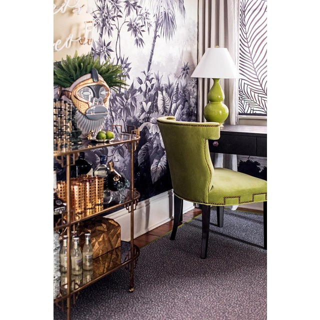 Side chair in bright chartreuse with nailhead detailing. Recently used in a show house for Traditional Home. Dimensions:...
