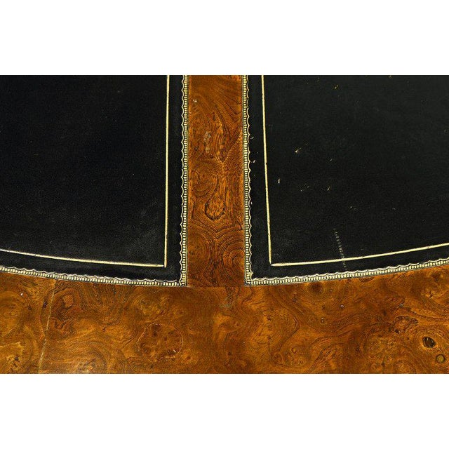 Exceptional Midcentury Semi Circular Brass and Burled Wood Desk by Mastercraft For Sale - Image 12 of 13