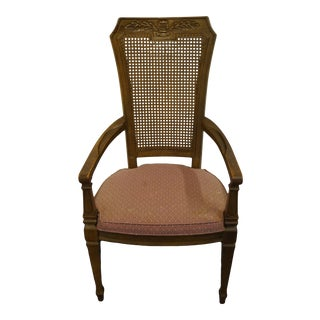 Drexel Heritage Country French Cane Back Dining Arm Chair For Sale