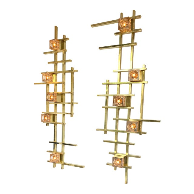 Contemporary Brass Murano Glass Cubic Sconces. Italy For Sale