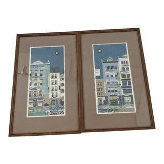 Margaret Layton Gouache Prints in Original Wood Frames - a Pair For Sale
