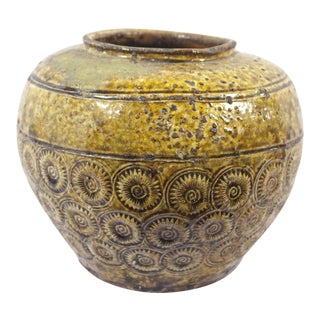 Antique 19th Century Thai Pottery Olive Green Sunburst Floral Motif Vessel For Sale