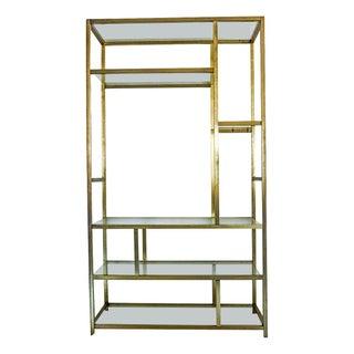 Milo Baughman Style Brass Etagere Shelving Unit For Sale