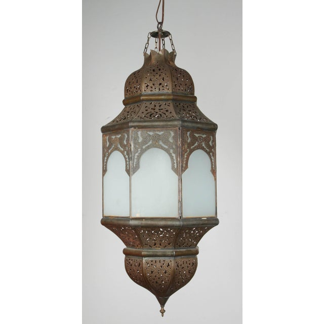 Bronze Moroccan Moorish Hanging Lantern With Milky Glass For Sale - Image 7 of 7
