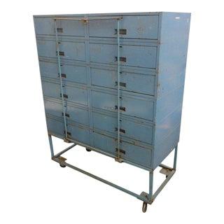 Vintage Blue Industrial Metal Cabinet