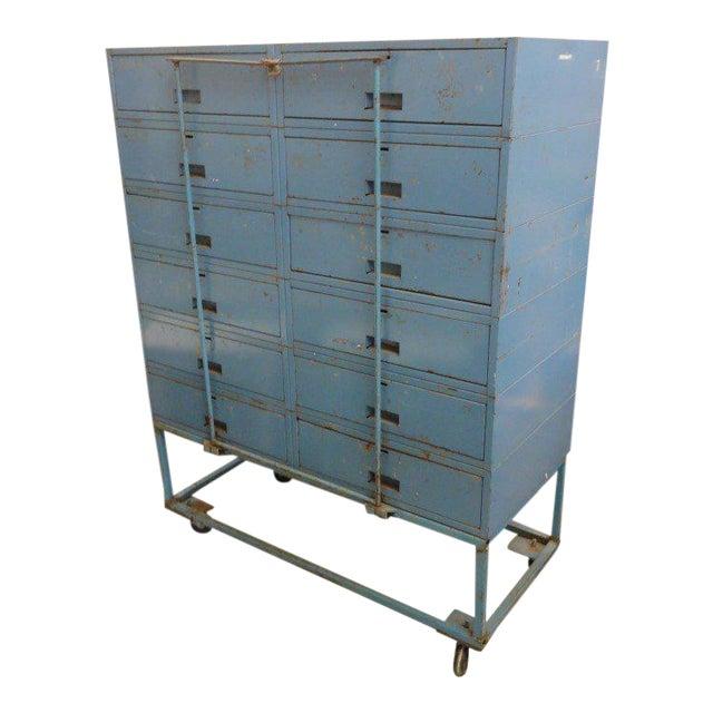 Vintage Blue Industrial Metal Cabinet - Image 1 of 11