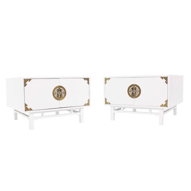 Pair Large Square White Lacquer End Side Tables Campaign Style Brass Pulls For Sale - Image 9 of 9