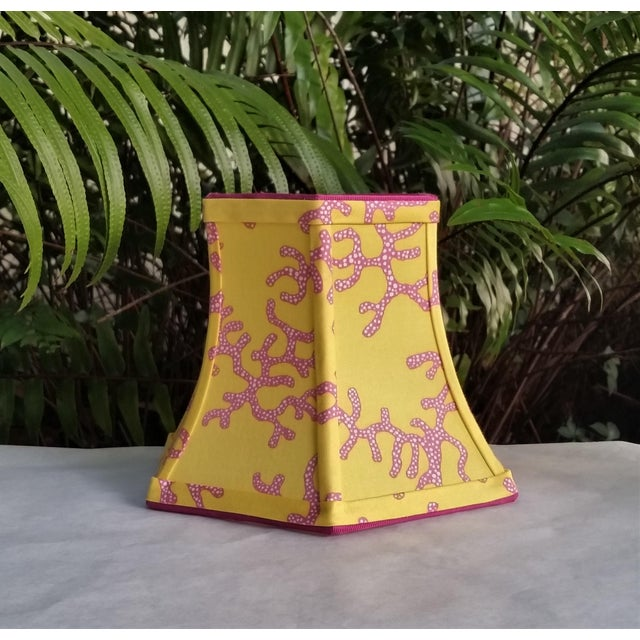 Metal Lilly Pulitzer Fabric Lampshade Yellow Pink Coral Clip On For Sale - Image 7 of 11